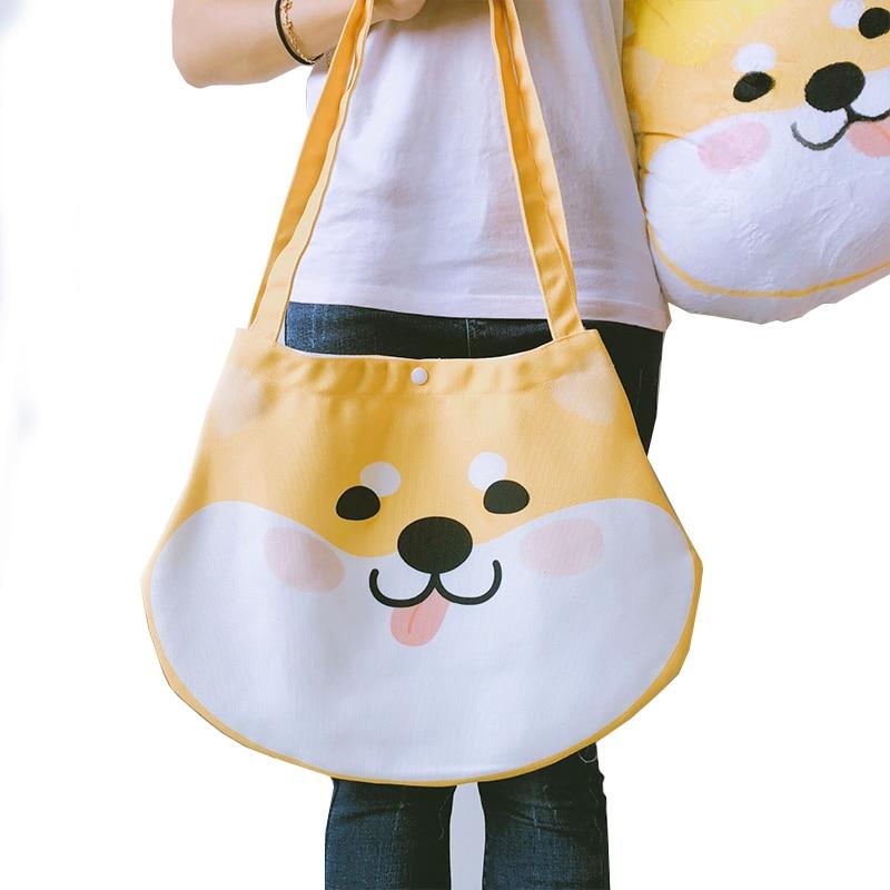 Japanese Cute Design Huskies Shiba Inu Handbag Shoulder Bag Women Portable Canvas Shopping Bag Students Reusable Tote Bag handbag