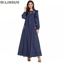 Milinsus embroidery Women Plus Size M-4XL Dress pocket flower Long sleeve maxi muslim dresses islamic abaya womens clothing
