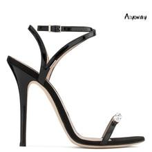 Aiyoway Elegant Women Shoes Peep Toe High Heels Sandals Crystal Decorated Cross Strap Ladies Wedding Evening Party Dress Shoes цены онлайн