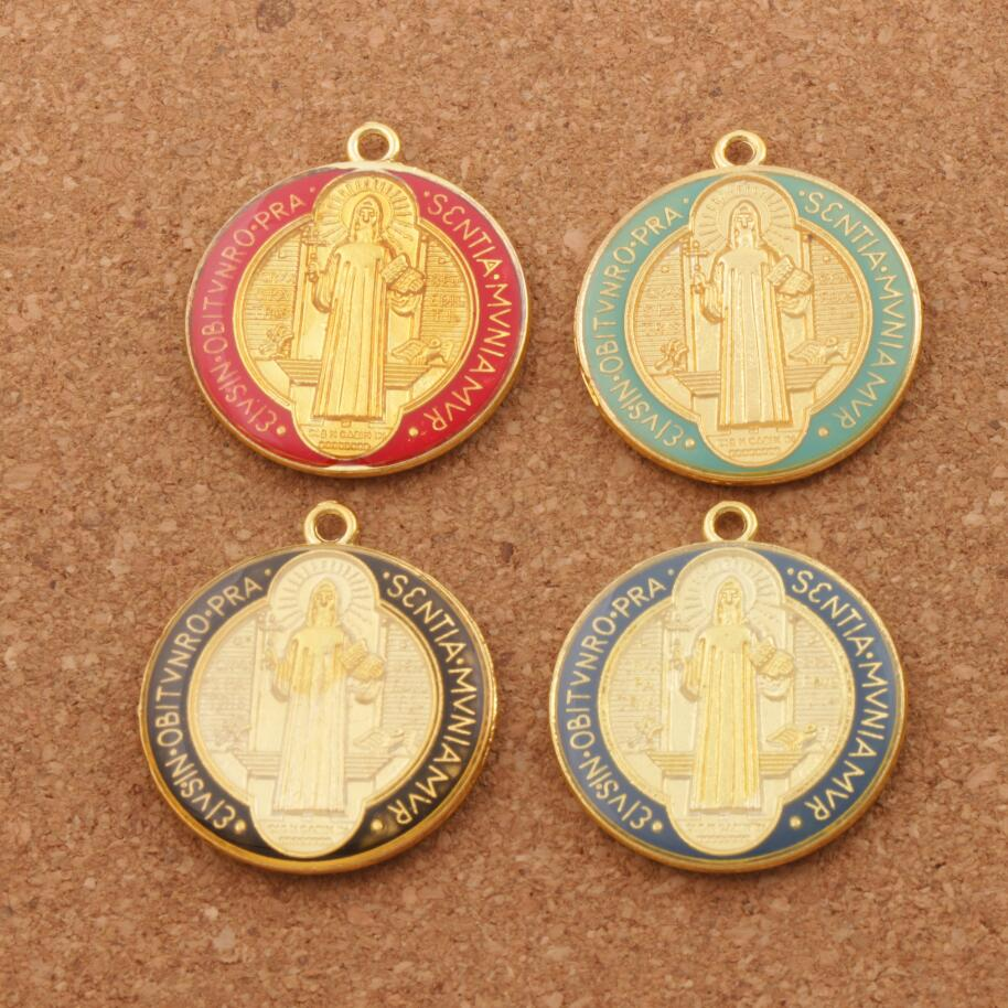 Enamel Saint Benedict Medal Cross Crucifix Smqlivb Spacer Beads 2pcs 4Colors Pendants Perhiasan Buatan Tangan DIY L1668