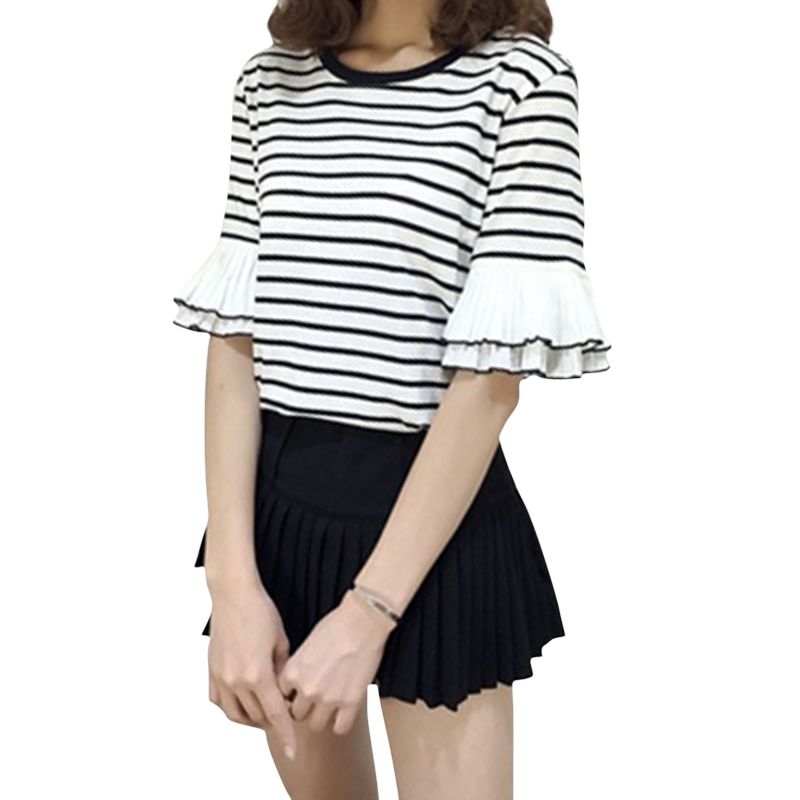 Women Striped Pattern T-Shirts Flare Short Sleeve female T-shirt O Neck Casual T shirt Female Tees Cotton Sweet Ladies Tees Tops