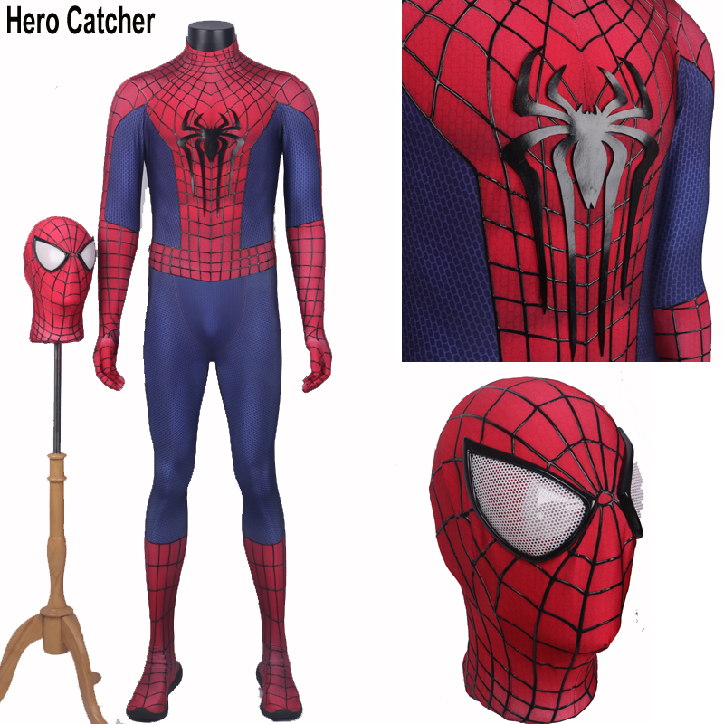 Hero Catcher 3D Cobwebs 3D Spider Amazing Spiderman Costume With Fog Free Lenses Adult Spandex Spiderman Suit Spiderman-in Movie & TV costumes from Novelty & Special Use    1