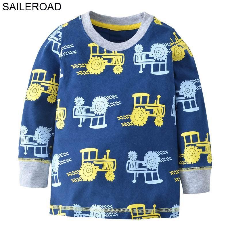 SAILEROAD Bande Dessinée Véhicule Tracteurs Enfants de Garçon À Manches Longues T-shirt Printemps Coton Bébé Enfant T-shirts de T-Shirts Enfant Garçons vêtements