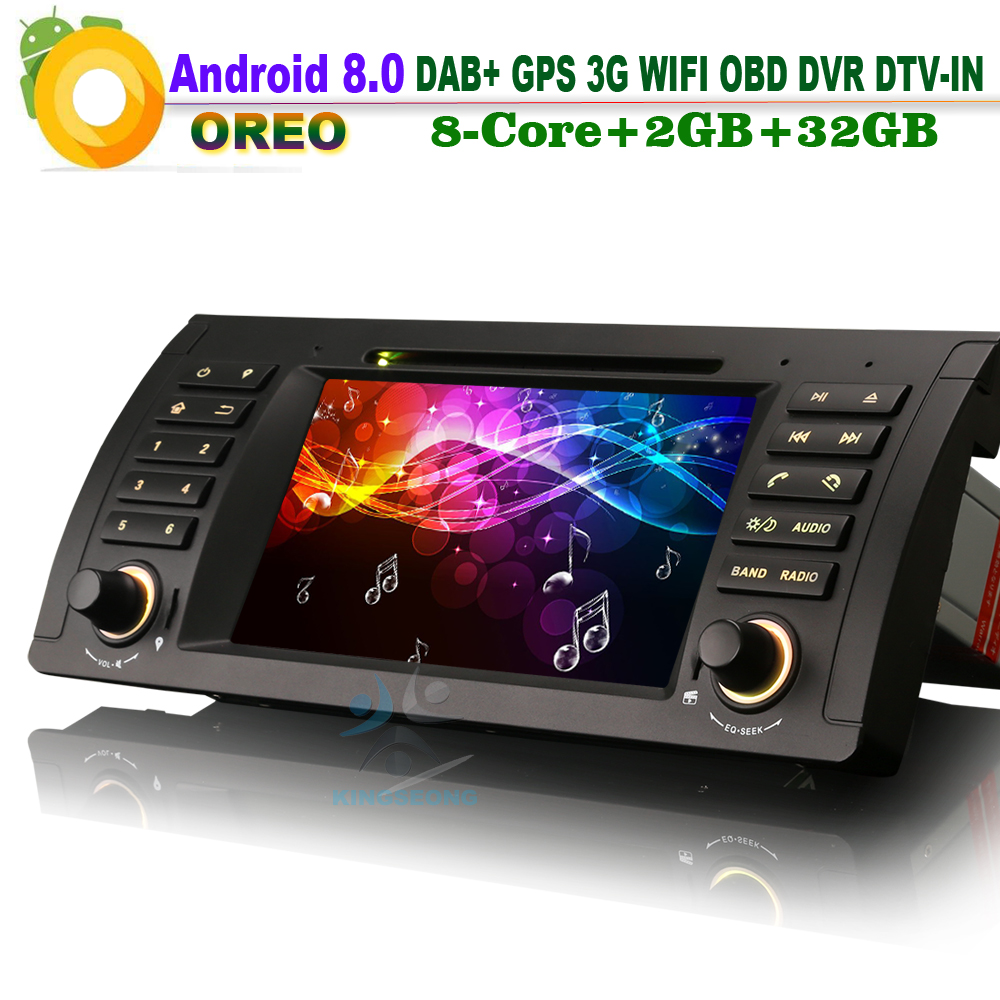 Android 8.0 DAB + WiFi g GPS Unidade de Cabeça DVD DVR Navi DTV-IN 3 Som Do Carro CAM-IN OBD RDS BT Car Radio para BMW E39 E53 X5 M5 Bluetooth