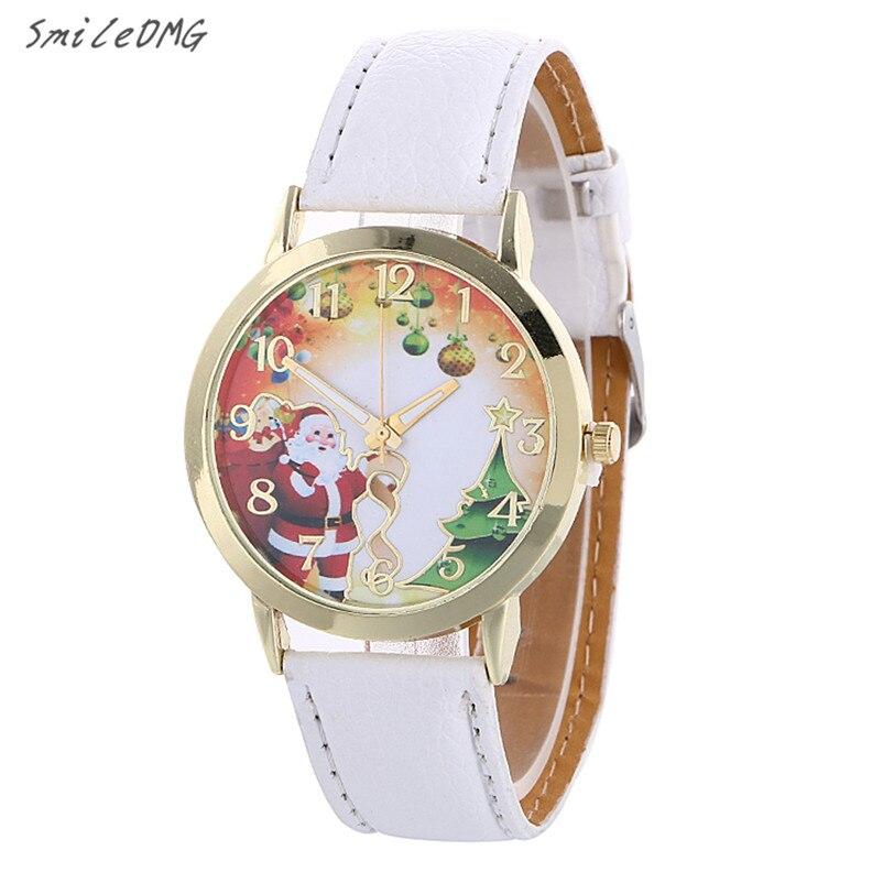 1f3c410f69c SmileOMG Mercado Quente Novo Padrão De Natal Analógico de Quartzo Relógios  de Moda Presentes de Natal Shiping Livre