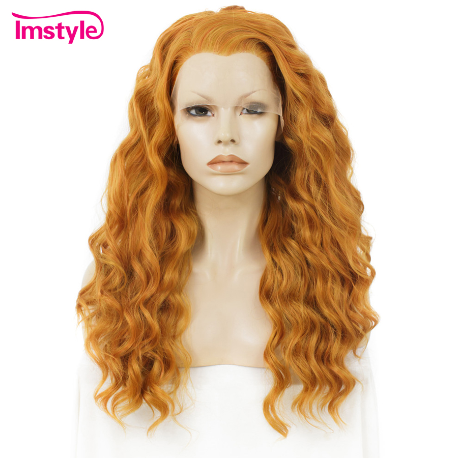 Imstyle Orange Wig Synthetic Lace Front Wig Deep Wave Long Wigs For Women Heat Resistant Fiber Drag Queen Cosplay Wigs