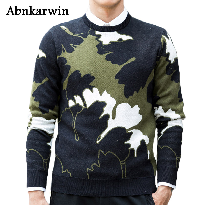 Abnkarwin New Arrival High Sweaters Men 2018 Knitwear Elastic Brand Fashion Mens Pullovers Top Quality Clothes Urban Style