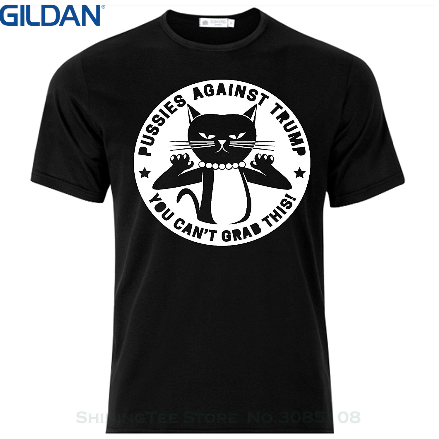 GILDAN Print Tee Shirt Men Short Sleeve Pussies Against Trump Super Mma Shop T Shirt Color Black