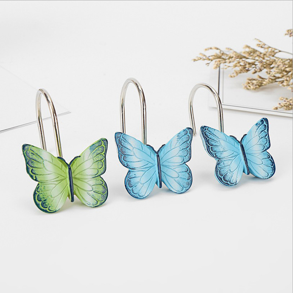 12 Pcs Hooks Creative Durable Decorative Butterfly Shaped Curtain Hangers Curtain Supplies For Shower Room Bathroom Bedroom