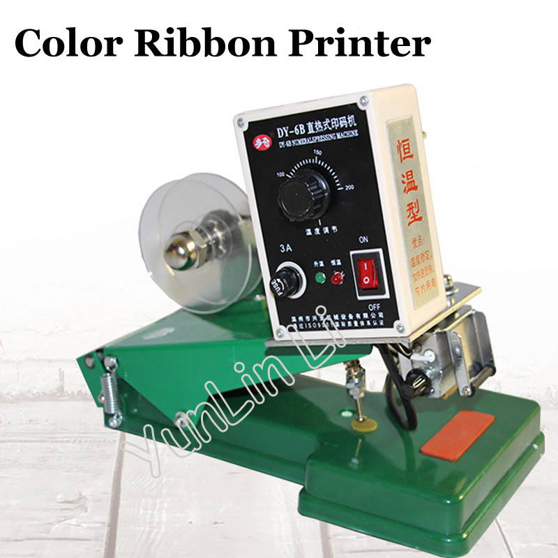 Color Ribbon Thermal Printer DY-6B Numerals Pressing Machine Manual Date Coder Constant Temperature Coding Machine manual hand operated hot stamp printer coding machine date ribbon coder 110v 220v