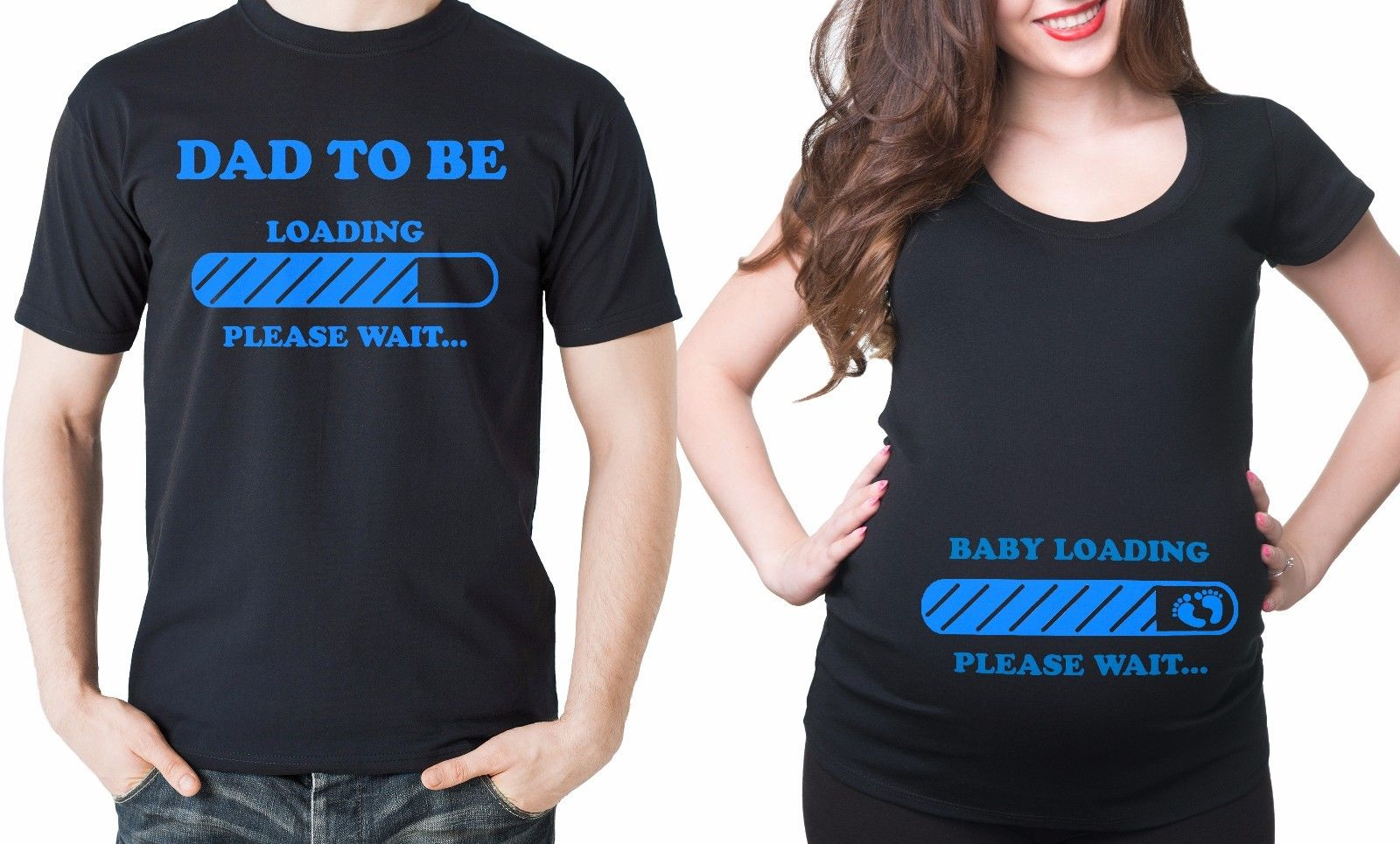 Gildan Pregnancy Funny Couple T-shirts Baby Loading Dad To Be Maternity Baby Shower Tee ...