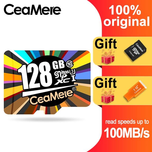 Ceamere cartão micro sd class10 UHS 1 8gb, 16gb/32gb u1 64gb/128gb cartão de memória flash microsd para smartphone, 256gb u3