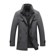 2019 New Winter Wool Coat Thick Cotton Jackets Mens Fashion Casual Warm Outerwear Jacket and coat Men Pea Size M-5XL