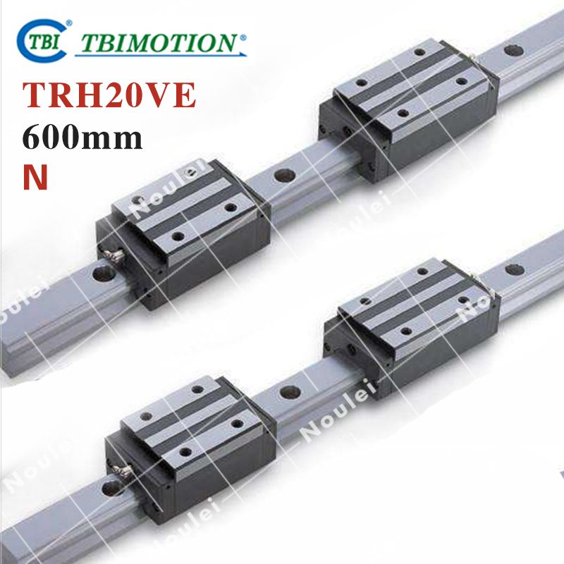 TBI 2pcs TRH20 600mm Linear Guide Rail+4pcs TRH20VE linear block for CNC high precision low manufacturer price 1pc trh20 length 1800mm linear guide rail linear guideway for cnc machiner