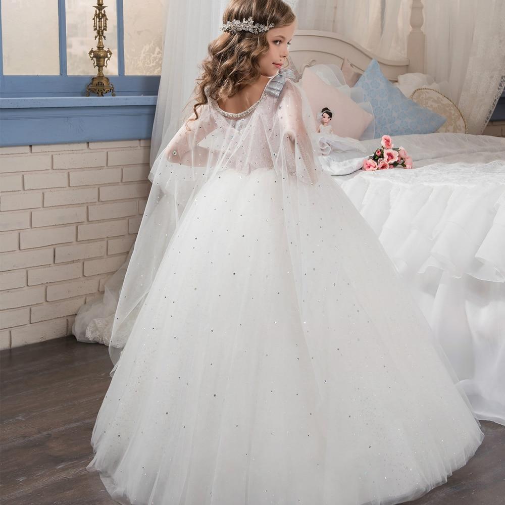Flower     Girl     Dresses   Formal Lace Sleeveless Ball Gown O-neck Beading First Communion   Dresses   for   Girls   Vestidos Longo New