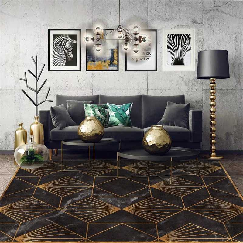 Modern Geometric Carpet And Rug For Living Room Bedroom Golden Metal Striped Parlor Area Rugs Home Sofa Decor Floor Mat Tapete Rug Aliexpress