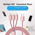 Rock 3 en 1 cable de carga usb para iphone 5s/6/6 s/7 samsung/xiaomi/meizu micro usb cable + para que el rayo a usb + cable c