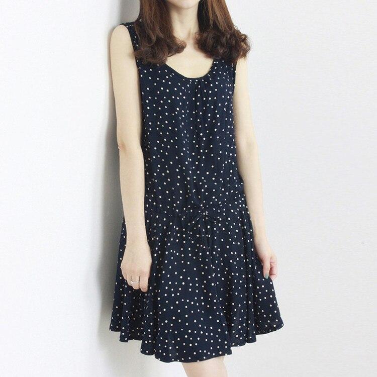 Fresh dot loose dress women o neck soft cotton comfortable for Soft cotton dress shirts