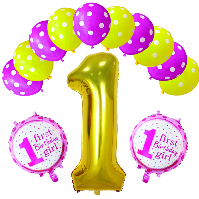 Number 1 Foil Balloon Polka Dot Latex Balloon Bouquet Baby One Year Old Anniversary Birthday Party Decoration Supplies Toy Globo