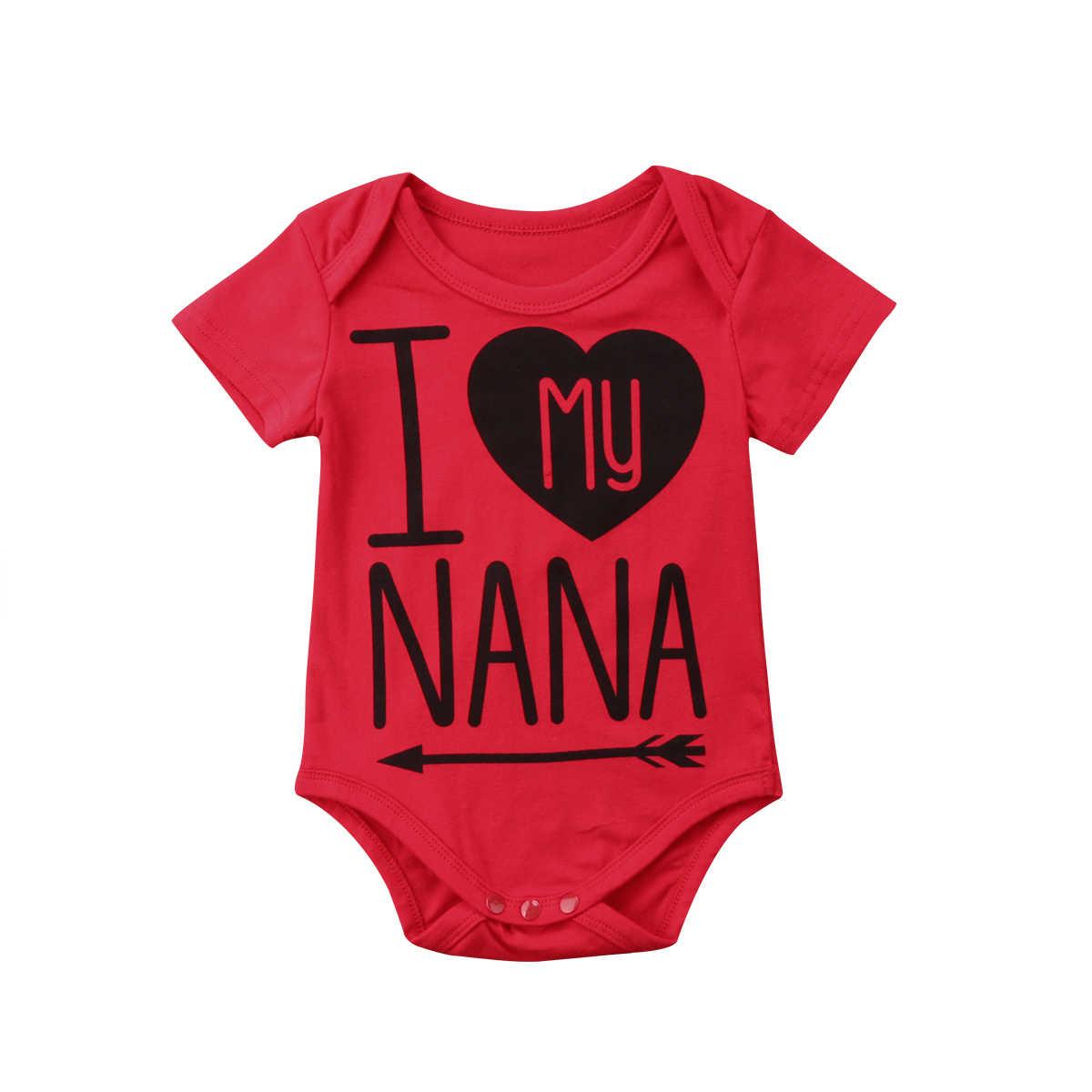 Me encanta NANA lindo bebé recién nacido niños y niñas de algodón mameluco Mono para chico niño ropa niños de 3 Color trajes 2019 novedad de verano
