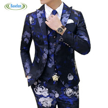 2016 New Fashion Floral Slim Casual Mens Groom Suits Single Breasted Suit Large ( Jacket + Vest + Pants )