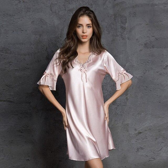 d939ad75cab6 Sexi Women Night Dress pijama robe sexy lingerie kigurumi pyjamas bathrobe  Stain sleepwear Autumn Silk nightgown Lace Nightie