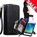 Para iphone 7 case magnetic 2 em 1 carteira zip telefone destacável sacos para iphone 7 7 plus strap case lichee padrão capa de couro pu case