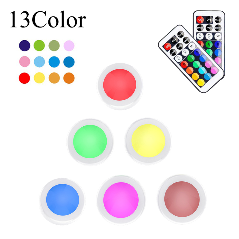 RGB Night Lamp LED 6pcs Under Cabinet Light Touch Lights Remote Control 13 Colors