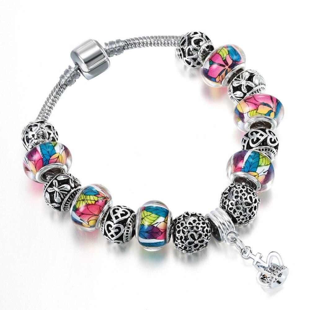 QIAMNI-DIY-Jewelry-Handmade-Colorful-Murano-Glass-Heart-Beads-Crown-Pendant-Dangle-Bracelets-Bangles-Women-Girl