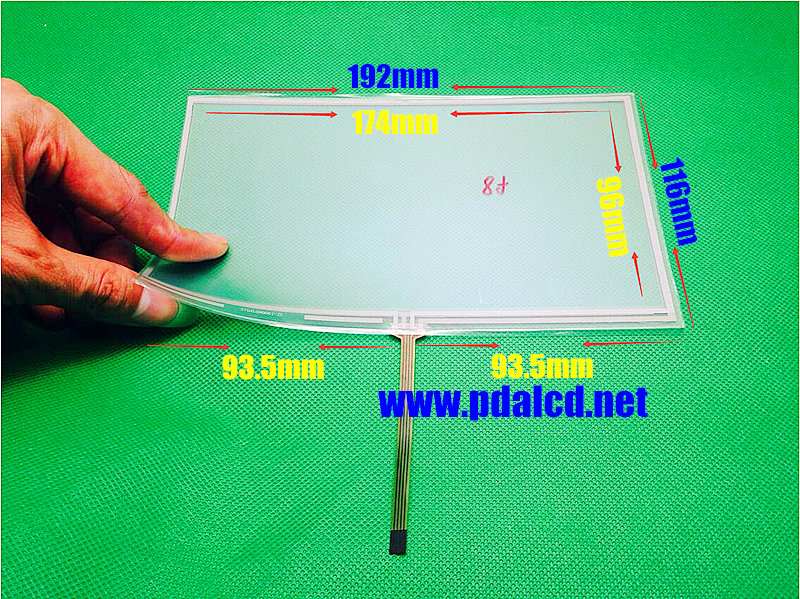 New 8 inch 192*116mm 4 wire Resistive Touch screen 192mm*116mm digitizer panels CAR GPS Navigation