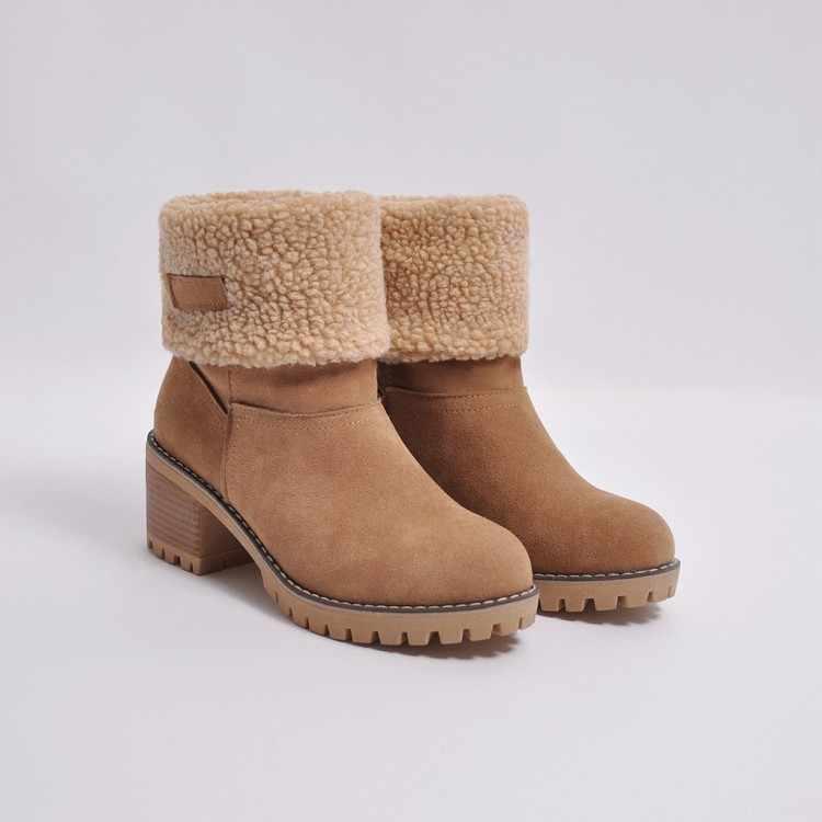 Giày Bốt Nữ Mùa Đông Ngoài Trời Giày Mềm Mại Thoải Mái Tuyết Mắt Cá Chân Giày Đàn Ấm Bootie Nữ Giày Cao Gót Đế Nêm Size Lớn