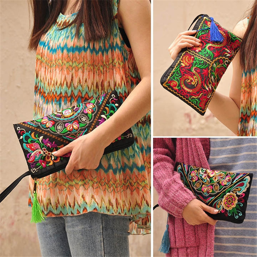 Wallet Purse Tassel-Handbag Women Bag Embroidered National with Phone-Change-Coin Retro