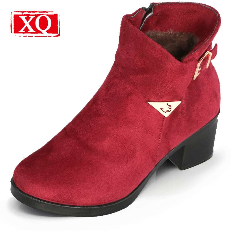 XQ Fashion Women Warm Boots High Heels Winter Snow Boots  Anti-skid Side Zipper Female Boots Brown Square Heel Ladies Shoes W005 new 2017 hats for women mix color cotton unisex men winter women fashion hip hop knitted warm hat female beanies cap6a03