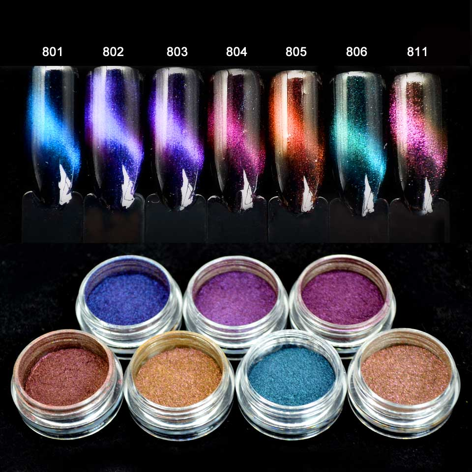 Cat Eye Effect Magic Mirror Nail Glitter Powder Cat's Eye Pigment UV Gel Polish Nail Art Dust Pigment DIY Tool 7 Colors SF2043