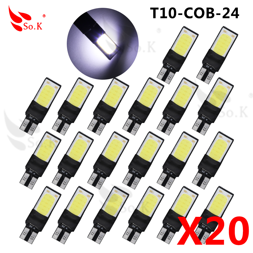 20X Canbus 5630 10 LED COB 24 smd 5W T10 W5W 194 168 12V Cold White Interior Parking Projector Lens Auto Car Light Bulb high t10 canbus 10pcs t10 w5w 194 168 5630 10 smd can bus error free 10 led interior led lights white 6000k canbus 300lm