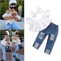 2018 Summer Baby Girls Cotton White Top Hole Jeans Set Lovely Children S Casual Clothes Hot