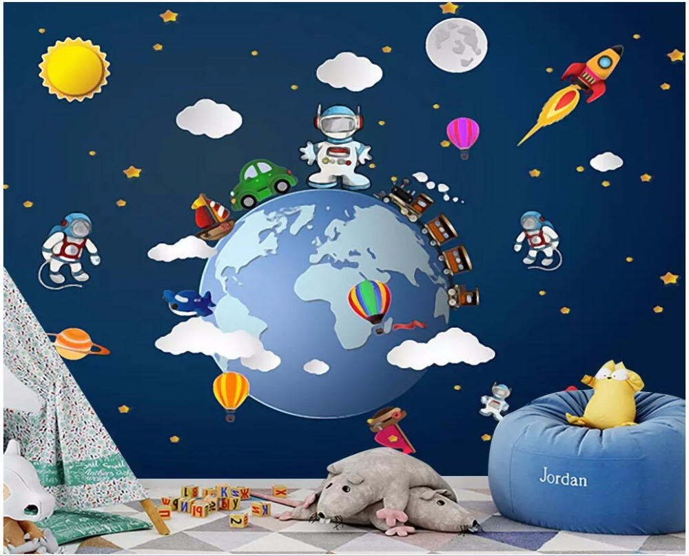 WDBH custom photo 3d wallpaper on the wall Cosmic space planet cartoon starry alien 3d wall murals wallpaper for wall 3 d Обои