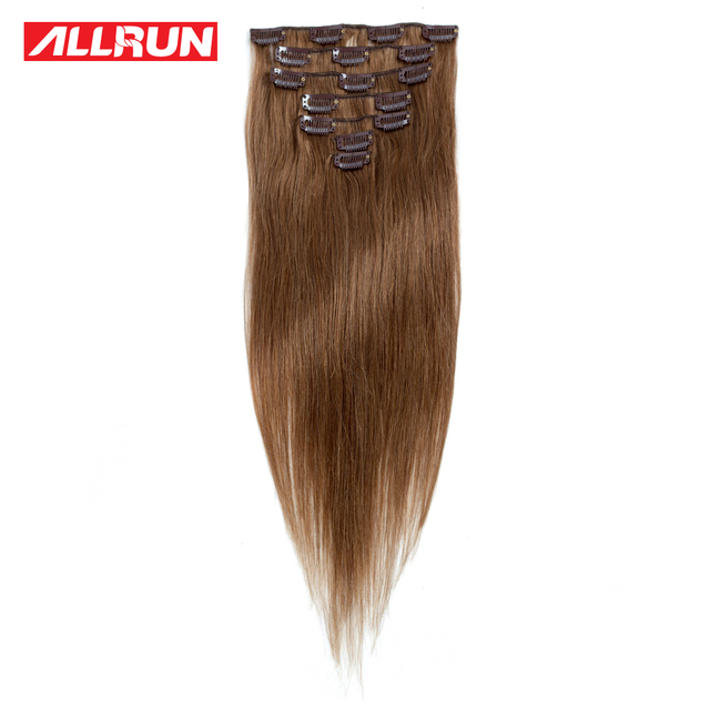 Allrun 6 Human Hair Extensions 7pcsset 16inch 20inch Non Remy Clip