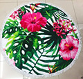 Hot Sale 34 Designs 150cm Microfiber Reactive Printing Round /Circle Beach Towels With Tassel Toalla Playa Serviette De Plage