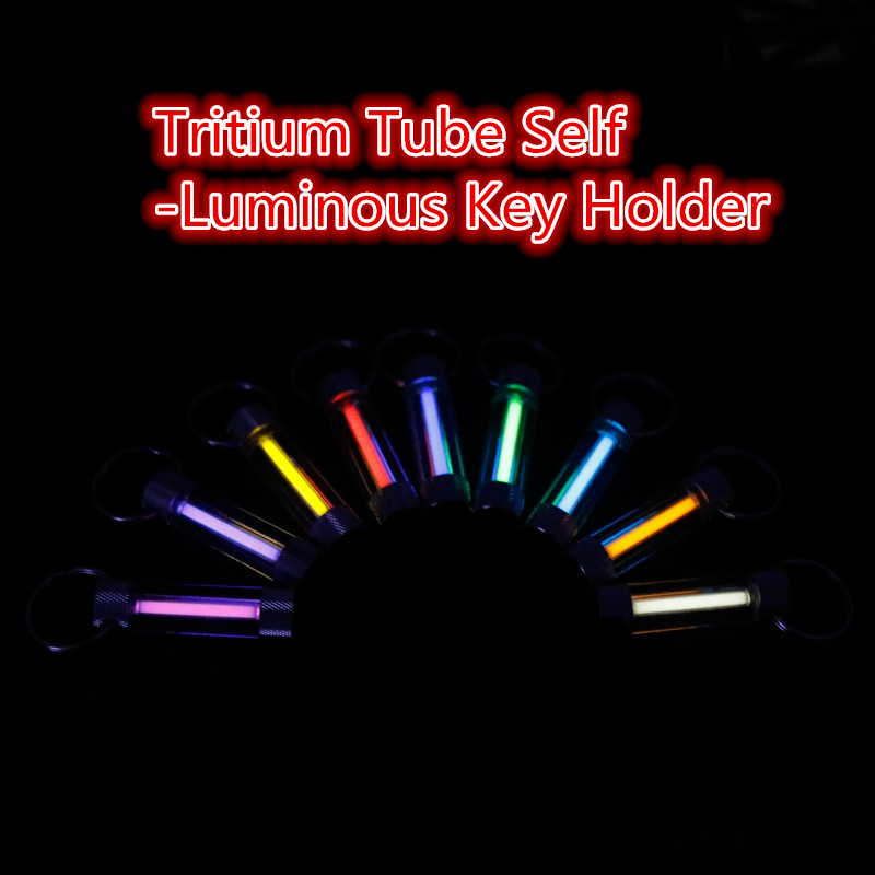 Tritium Tube Light 10 Years Stainless Steel Key Ring Keychain Key Ring Fluorescent Tube Lifesaving Emergency Alloy Lights EDC jujube wood tube lucky stainless steel keychain black
