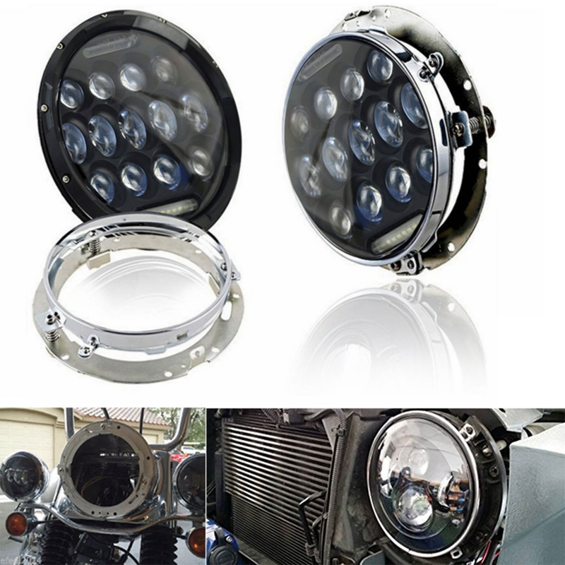 2pcs Motorcycle Jeeps 7inch LED Headlight & 2pcs 7'' Chrome Mounting Bracket Ring For Harley & Jeep