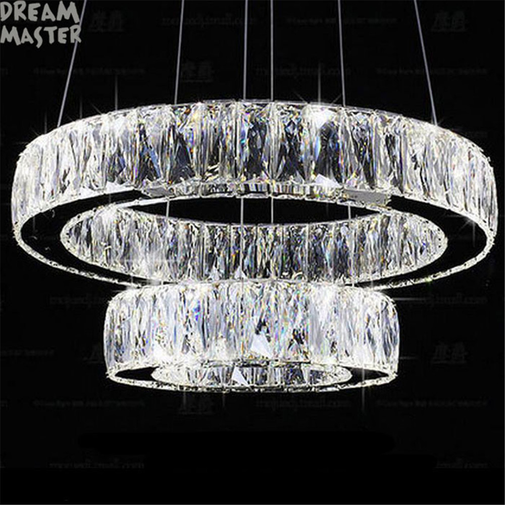 Modern Crystal 2 rings LED pendant lamp Lustre living room lamp suspension pendant lights bedroom dining room luster lighting crystal flower pendant light modern lighting living room lamp bedroom lamp aisle lighting