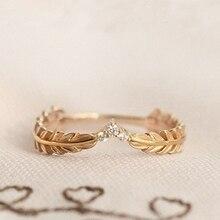 Anillos de plumas de arroz Color oro populares joyería de moda boda cristal corazón cúbico Zirconia anillos Mujer Accesorios regalo