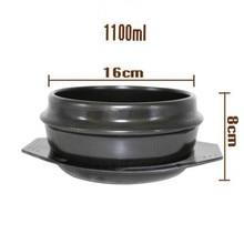 1100 мл черный Spodumene керамическая каменная кастрюля Bibimbap клейпот рисовый толстый горшок Меламиновый Поднос подходит для использования 1 человек