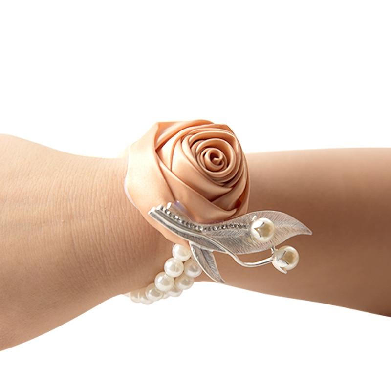 Corsage New Arrival Bridesmaid Bracelet Hand Corsage Flowers Wrist Corsage Pearls Corsage For Wedding Purple Bridal Wristband