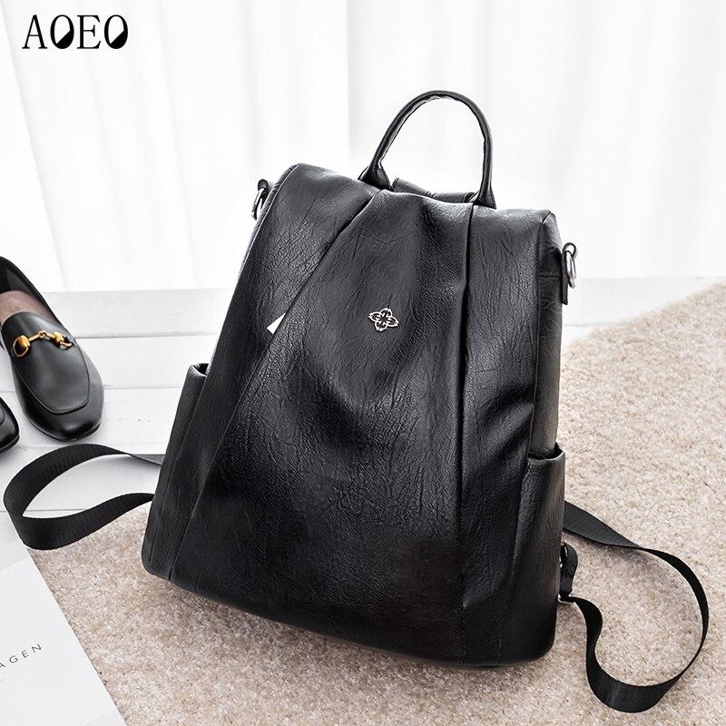AOEO populaire Anti-vol sac à dos femme sac à double fermeture éclair souple Pu cuir imperméable sacs pour filles noir sacs à dos pour les femmes