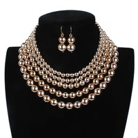 Gold Pearl Gold Color Sets Pearl Necklace Gold Color Chain Imitation Pearl Bead Women Statement Necklaces & Pendants Set