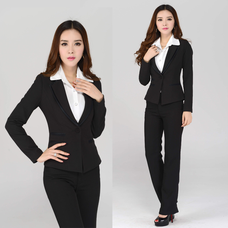 1ea87f4c88d OL Career Suits Women Black Long Sleeve Blazers and Trousers Formal Office  Work Wear Plus Size XXXL Pants suits-in Pant Suits from Women s Clothing on  ...