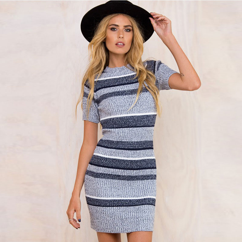 2018  Winter Spring Knitting Dress Women Sexy Short Sleeve Party Skinny Casual Knitted Striped Warm Sweaters Dresses