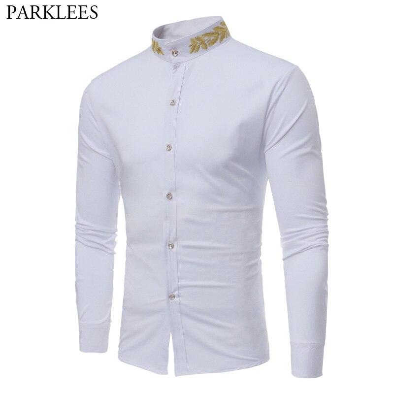 Gold Embroidery White Dress Shirt Men 2018 Brand Mandarin Collar Slim Fit Chemise Homme Casual Long Sleeve Male Social Shirt